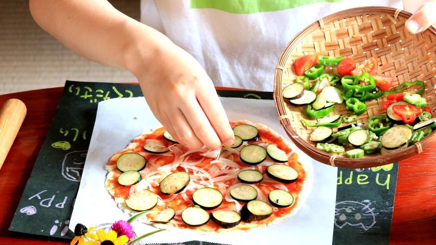 採れたて野菜で米粉ピザ作り体験