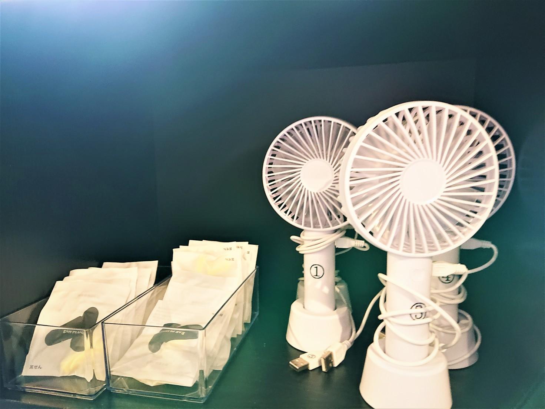キャビン共用休憩室(ミニ扇風機・イヤホン)
