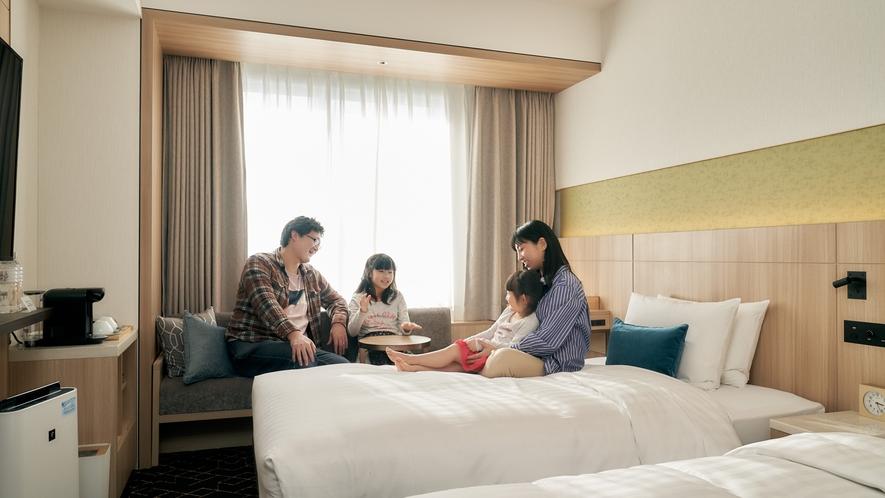 新緑をイメージしたさわやかなデザインの高層階部屋からは、札幌ならではの景色がお楽しみ頂けます。