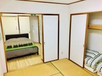 広々寝室、2名〜7名まで就寝可能です
