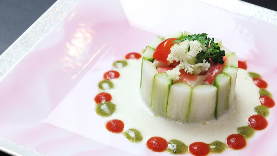 ◆春の一例◆洋皿 アスパラとズワイガニのシャルロット