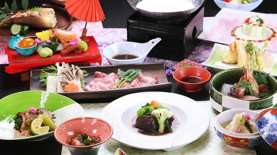 ◆グレードアップ◆~春の一例~旬の山菜や筍、じっくりと煮こんだ常陸牛は絶品