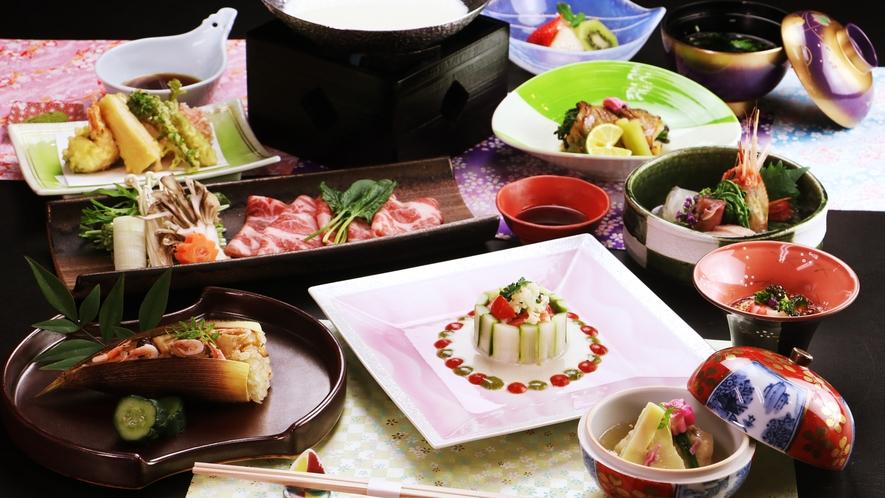 ◆スタンダード◆~春の一例~旬の山菜と美明豚のしゃぶしゃぶは豆乳仕立て