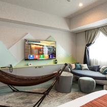 ハンモックにヨットのソファー