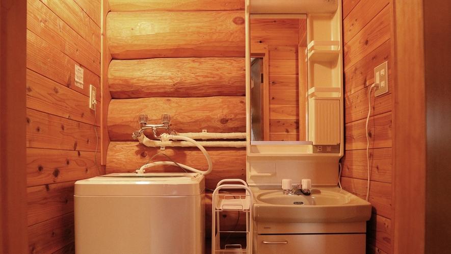*【コテージB棟/洗面所】洗濯機完備!洗剤は各自ご持参下さい