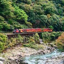 嵐山から25分の旅♪嵯峨野トロッコ列車で四季折々の絶景が楽しめます