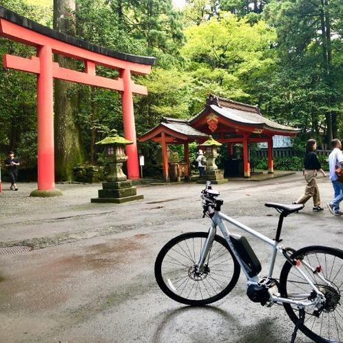 eBikeなら箱根神社までのサイクリングも可能です。道中の「三島スカイウォーク」で富士山を眺