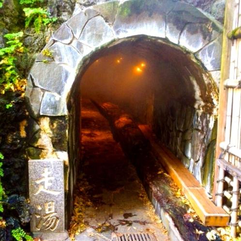 日本でも珍しい横穴式源泉で日本三大古泉の一つ「走り湯」(当館から車で約10分)