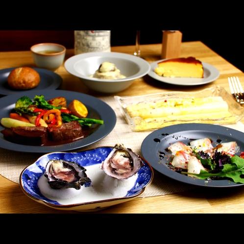 メイン料理は魚かお肉かをお選び頂きます。
