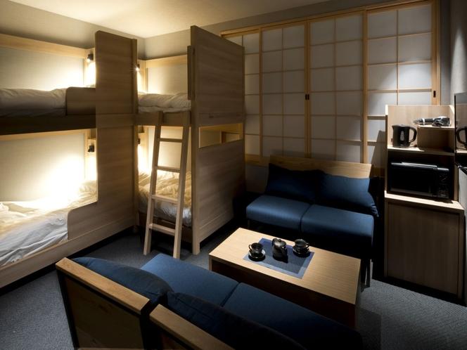 【グループ・家族旅行に大人気】デザインロフトベッドルーム(ユニットバスルーム付)