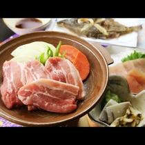 夕食単品_お肉の陶板焼き!