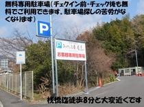 無料専用駐車場(チェックイン前・チェックアウト後も利用できます)