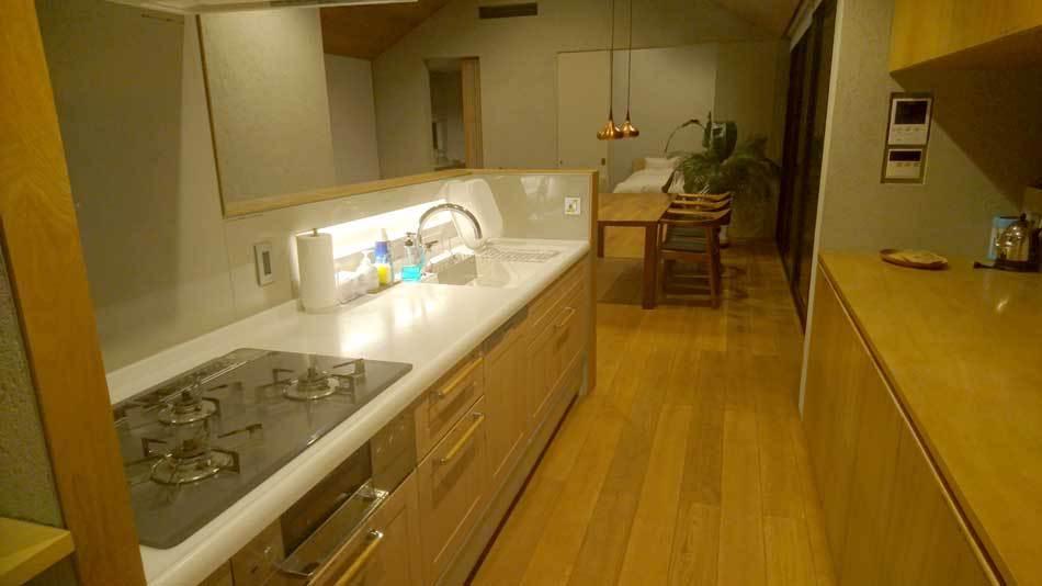 大型の最新設備のキッチン