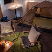 【キャンピングルーム】テントにはマットが敷いてあります♪