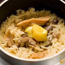 *夕食一例/季節の釜飯には旬の食材が満載。時季によって変わる内容をお楽しみください。