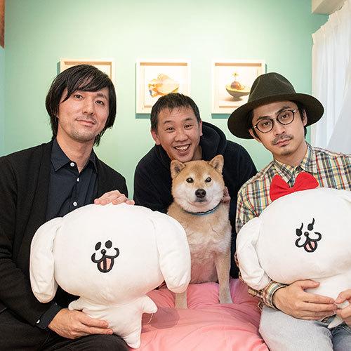 まるごとホテルを手がけた田中達也さん、小野慎二郎さん、パントビスコさん(左より)