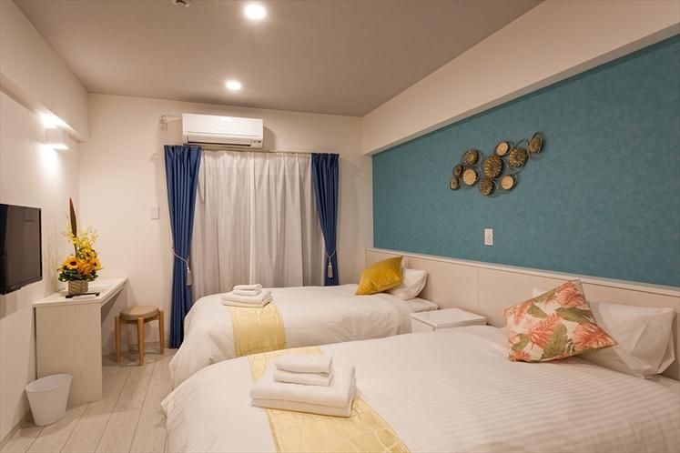 【ツインルーム】 ゆったり25㎡・シングルベッド(1m幅)2台・Wi-Fi、キッチン、家具家電