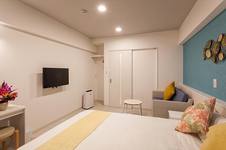 【ダブルルーム】ゆったり25㎡・ダブルベッド(1.4m幅)1台・W-iFi、キッチン、家具家電
