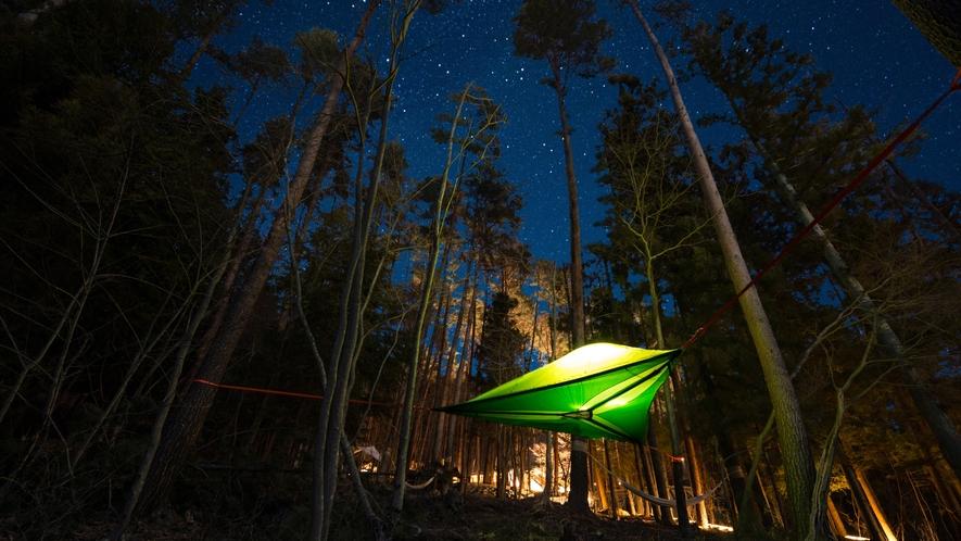 森の空中テント