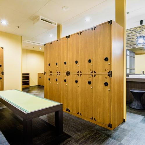 力強さと重厚感のある古民家をイメージさせる空間【男性浴室】
