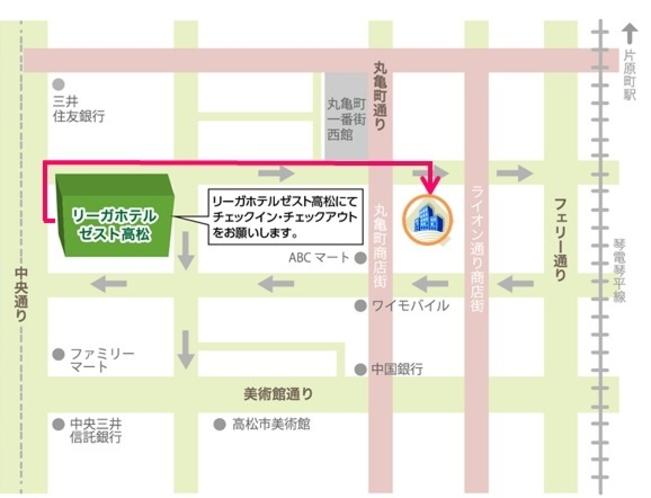 チェックイン場所からの地図