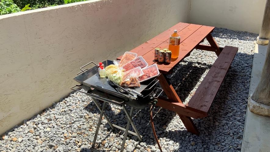 広々お庭でゆったりBBQ♪オリオンビールとさんぴん茶もプレゼント☆