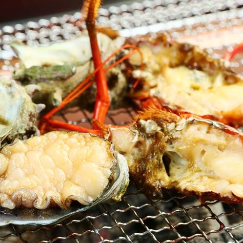 夕食◆海の高級食材を豪快に囲炉裏炭火焼きで