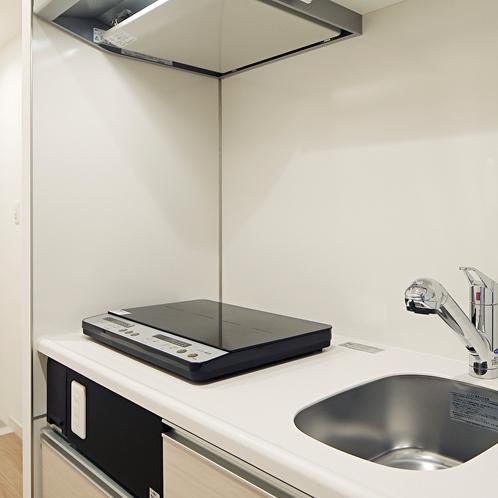 【ダブルルーム】キッチンには全室IHコンロ完備