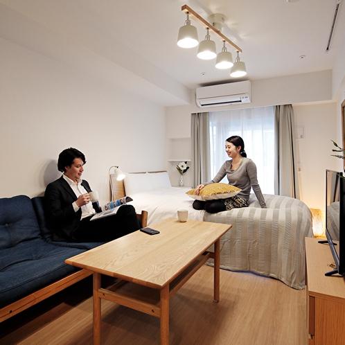 【ダブルルーム】ダブルベッド1台・ソファベッド1台のお部屋