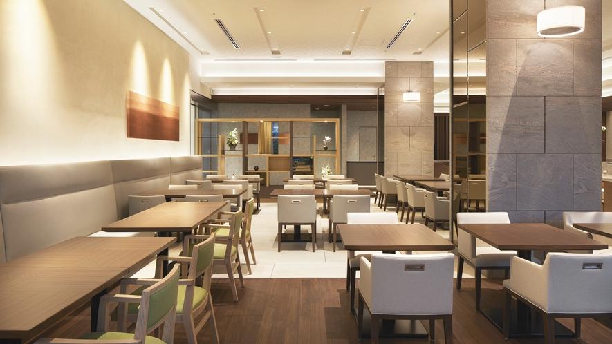 ホテル1F レストラン「カフェ コントレイル」は朝食・ランチ営業