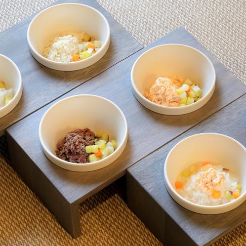 【ワンちゃんごはん】ワンちゃん専用のご飯も用意しております。たまにはちょっぴり贅沢を