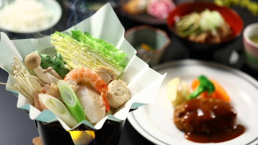 冬のご夕食一例。海鮮鍋と手作りハンバーグがメインのメニューです。