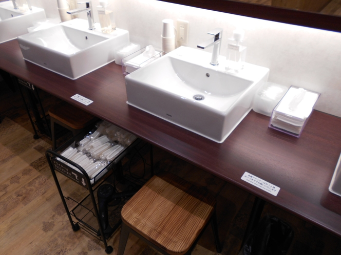 洗面台と各種アメニティー