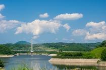三春ダムと春田大橋
