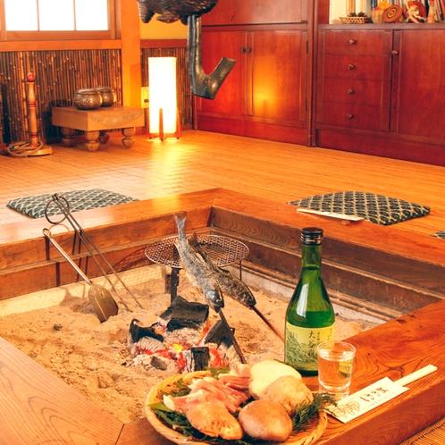 *ご夕食は囲炉裏を使った炉端焼き