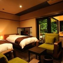 【藤】ゆったりベッドルームと客室露天風呂で寛げる和洋室