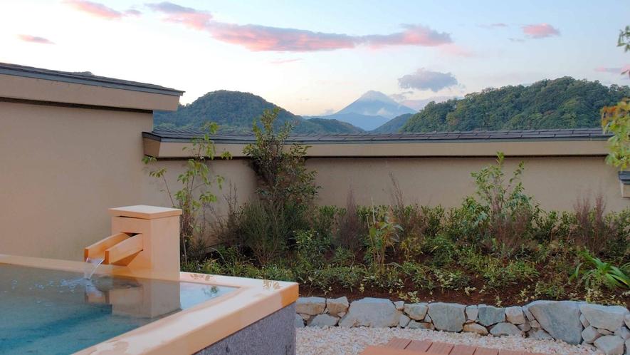 源泉かけ流し露天風呂のある富士を望むテラス(デラックス露天風呂付ツイン41平米)