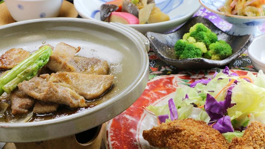 ■【ご夕食一例】ボリューム満点でビジネスマンも大満足!もちろん味も好評ですよ