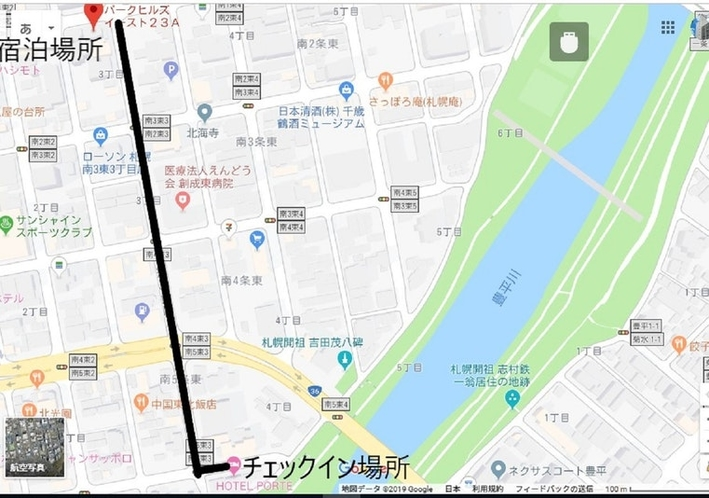 チェックイン場所のHOTELPORTEまでの道順。徒歩7~8分
