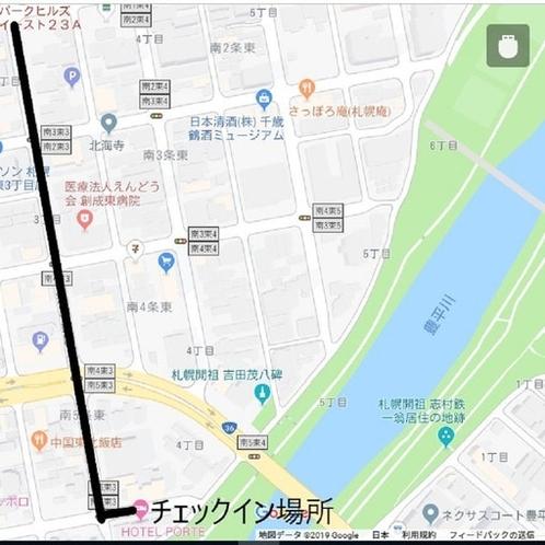 チェックイン場所のHOTEL PORTEまでの地図