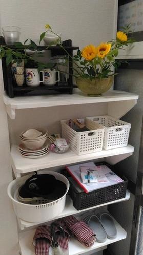 家の使用説明書、お茶、コーヒパック、コップ、皿ご自由にお使いください