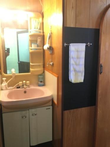 洗面台、歯ブラシ、ドライヤ-