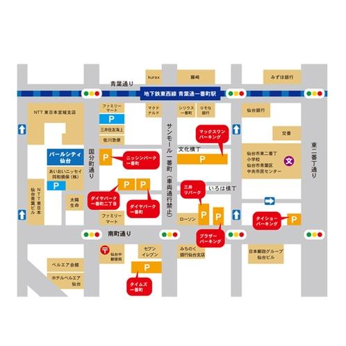 コインパーキングMAP※詳しくは施設情報の「駐車場のご案内」ページをご覧ください。