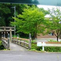 近くの八幡神社。鳥居をくぐると階段。天辺にひっそりとお社があります