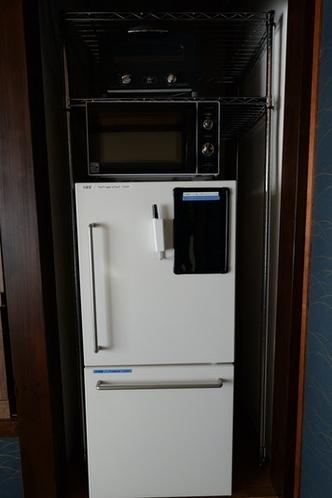 ゲスト用オーブントースター、電子レンジ、冷蔵庫