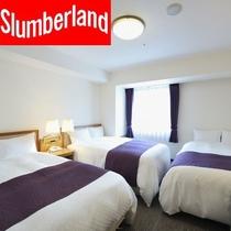 トリプルルーム お部屋の広さ20㎡・シングルベッド(120cm幅)が3台(20㎡=約12.1畳)