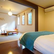 [102]1F:客室露天ヒノキ風呂付きダブルベッドルーム