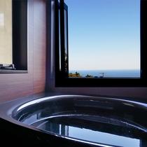 [201]2F:開放的な大窓から海を望む展望風呂付きツインベッドルーム