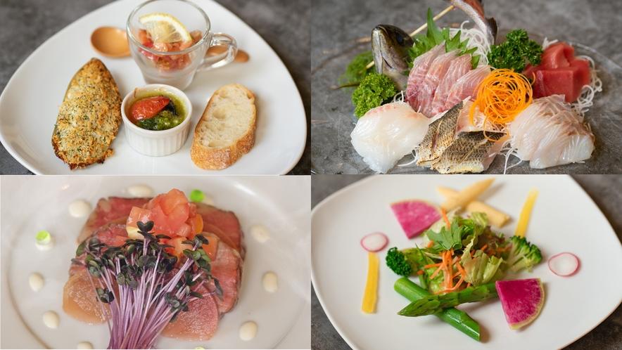 季節の前菜・本日の地魚盛り合わせ・伊豆牛サーロイン・季節の彩りサラダ