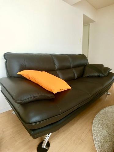 本革のソファー。3人まで座れます。